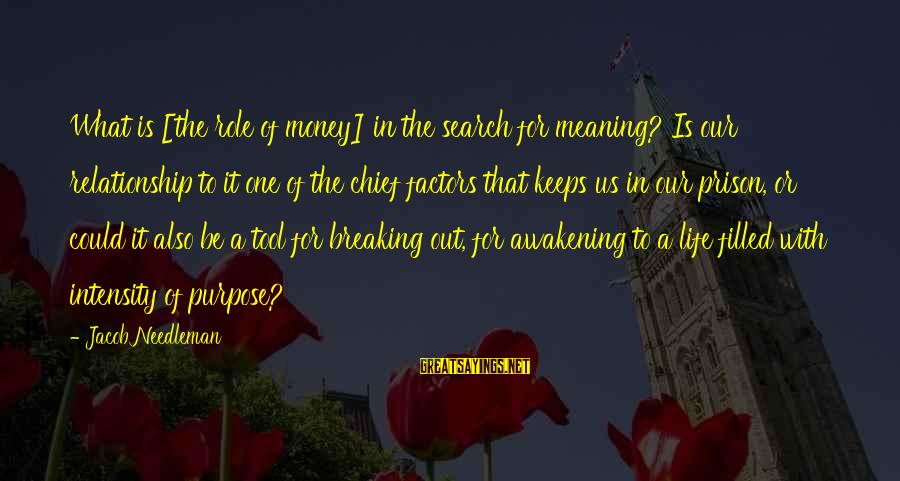 The Prison Sayings By Jacob Needleman: What is [the role of money] in the search for meaning? Is our relationship to