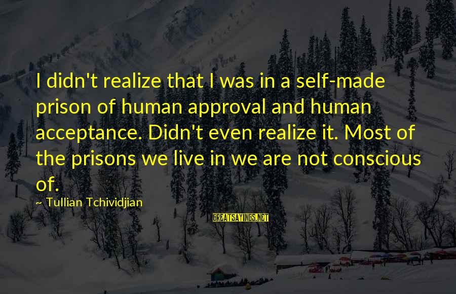 The Prison Sayings By Tullian Tchividjian: I didn't realize that I was in a self-made prison of human approval and human
