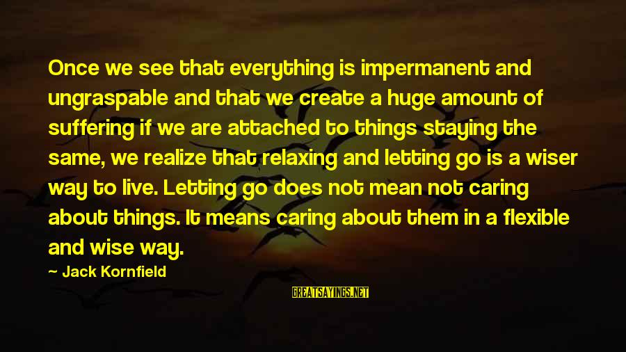 The Same Sayings By Jack Kornfield: Once we see that everything is impermanent and ungraspable and that we create a huge