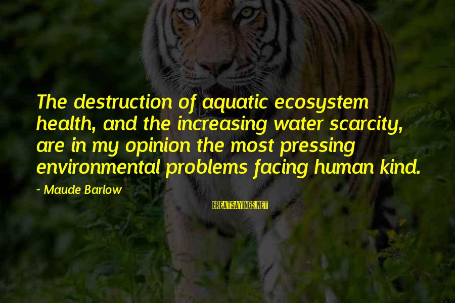 The Scarcity Of Water Sayings By Maude Barlow: The destruction of aquatic ecosystem health, and the increasing water scarcity, are in my opinion