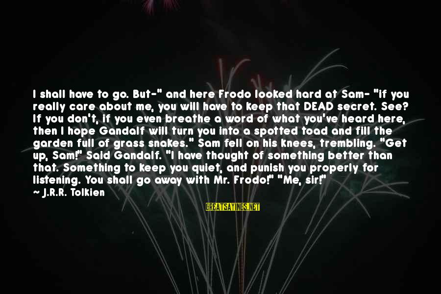 """The Secret Garden Sayings By J.R.R. Tolkien: I shall have to go. But-"""" and here Frodo looked hard at Sam- """"if you"""