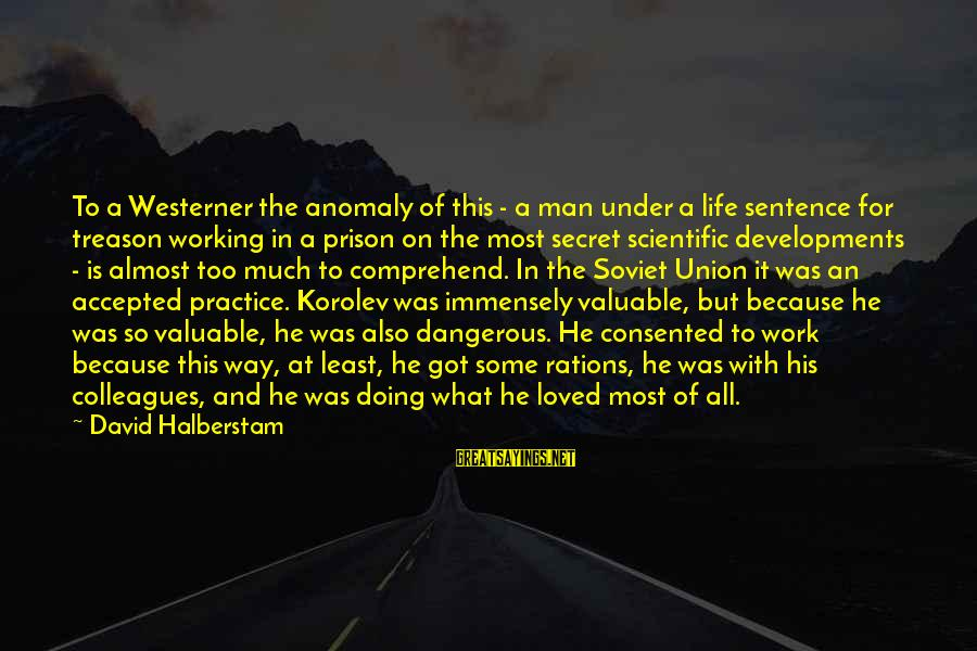 The Secret Of Life Sayings By David Halberstam: To a Westerner the anomaly of this - a man under a life sentence for