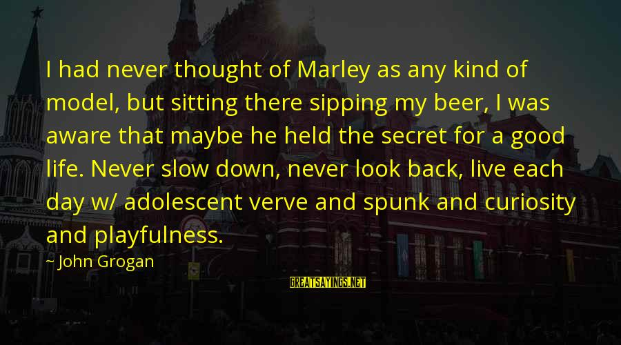 The Secret Of Life Sayings By John Grogan: I had never thought of Marley as any kind of model, but sitting there sipping