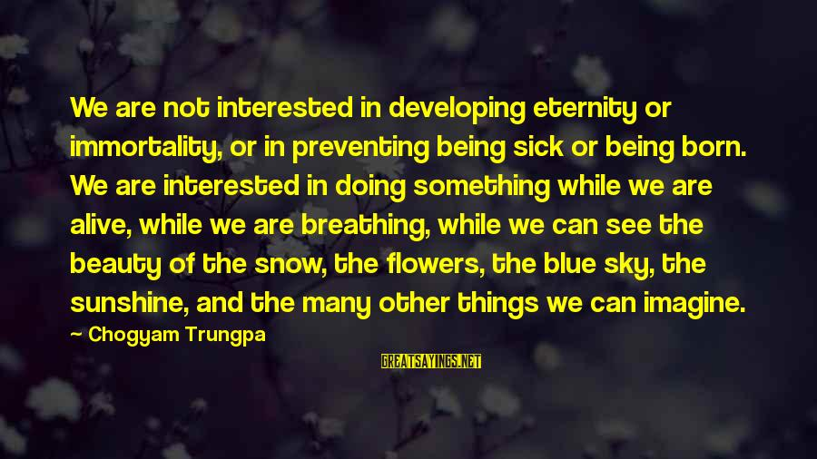 The Sky Being Blue Sayings By Chogyam Trungpa: We are not interested in developing eternity or immortality, or in preventing being sick or