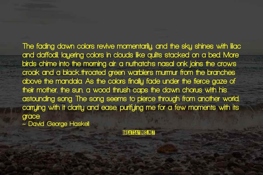 The Sun Shines Sayings By David George Haskell: The fading dawn colors revive momentarily, and the sky shines with lilac and daffodil, layering