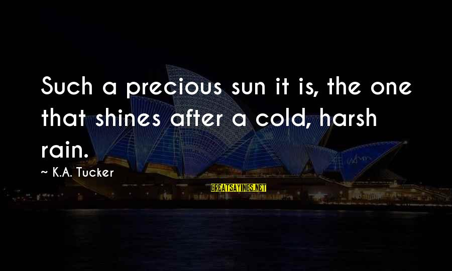 The Sun Shines Sayings By K.A. Tucker: Such a precious sun it is, the one that shines after a cold, harsh rain.