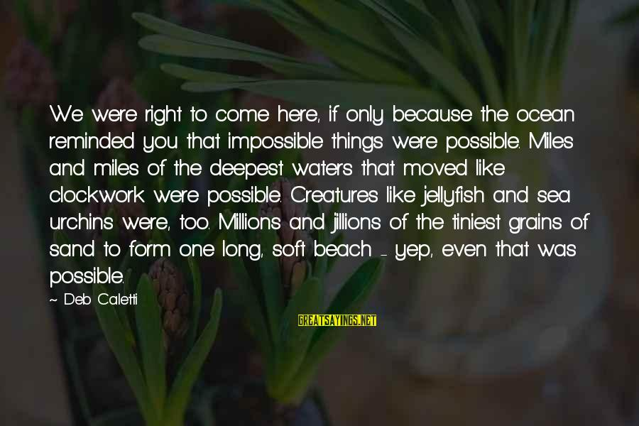 The The Ocean Sayings By Deb Caletti: We were right to come here, if only because the ocean reminded you that impossible