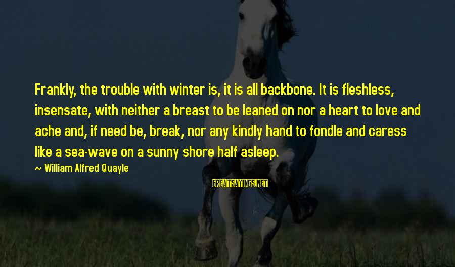 The Trouble With Love Sayings By William Alfred Quayle: Frankly, the trouble with winter is, it is all backbone. It is fleshless, insensate, with