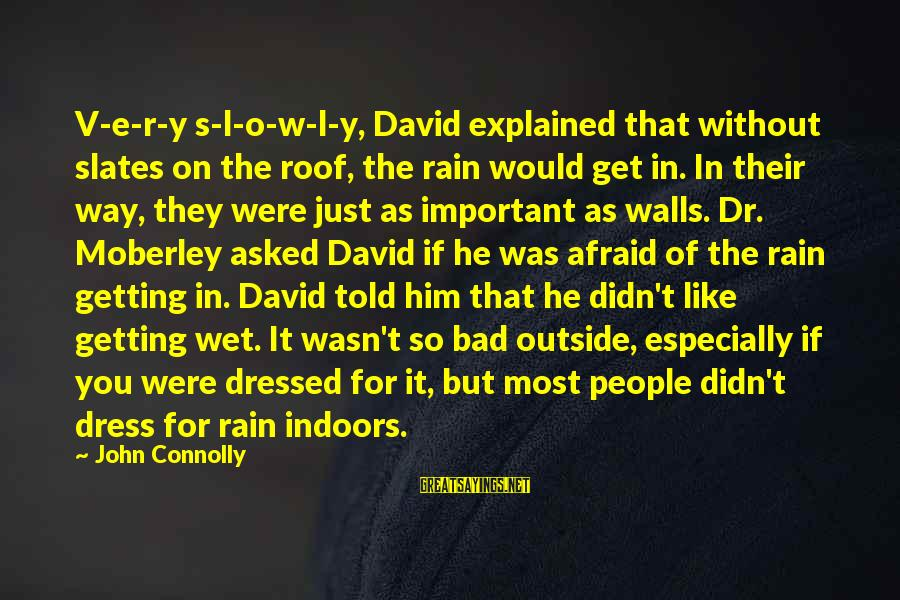 The Way You Dress Sayings By John Connolly: V-e-r-y s-l-o-w-l-y, David explained that without slates on the roof, the rain would get in.