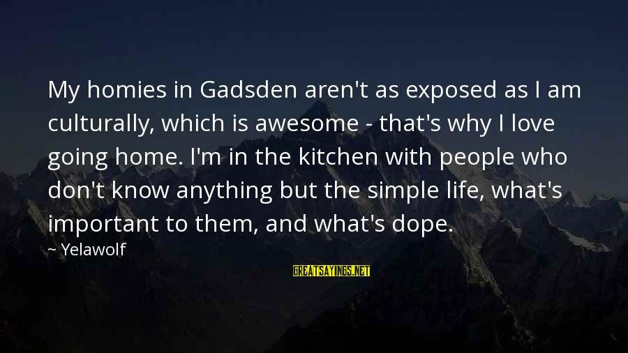 The Who Love Sayings By Yelawolf: My homies in Gadsden aren't as exposed as I am culturally, which is awesome -