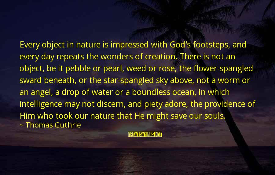 The Wonders Of God Sayings By Thomas Guthrie: Every object in nature is impressed with God's footsteps, and every day repeats the wonders