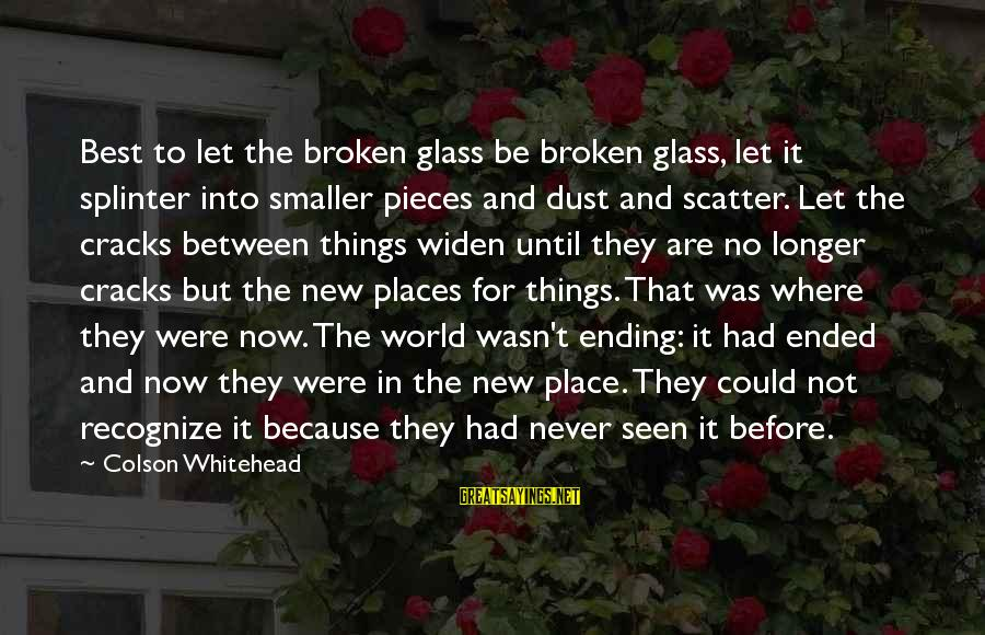 The World Ending Sayings By Colson Whitehead: Best to let the broken glass be broken glass, let it splinter into smaller pieces