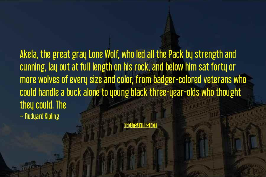 The Young Wolf Sayings By Rudyard Kipling: Akela, the great gray Lone Wolf, who led all the Pack by strength and cunning,