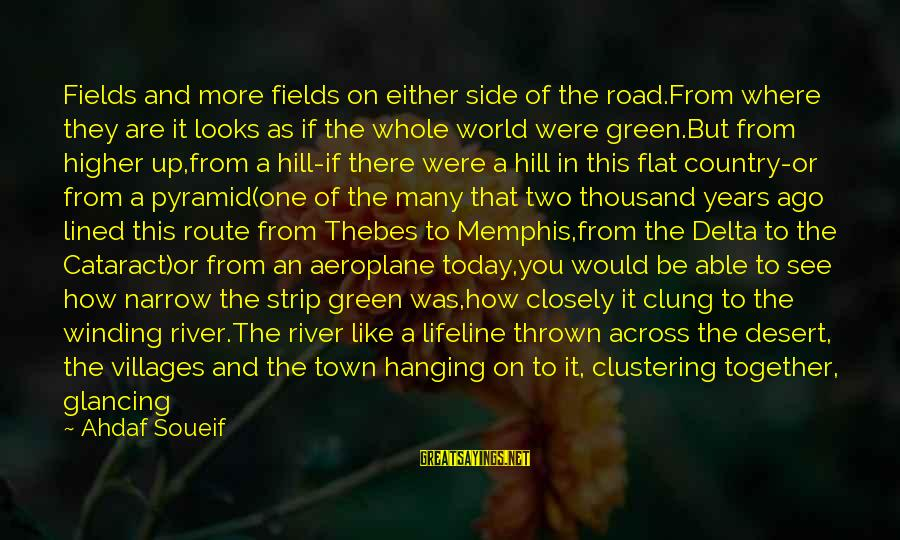 Thebes Sayings By Ahdaf Soueif: Fields and more fields on either side of the road.From where they are it looks