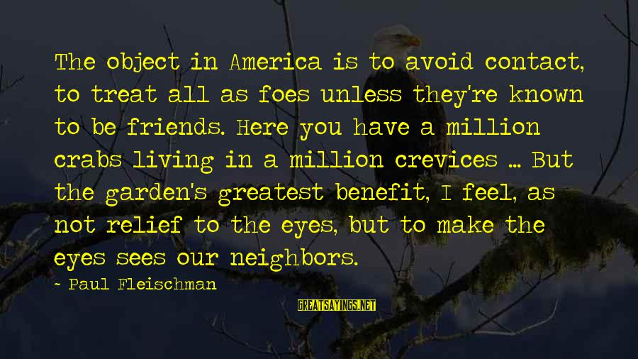 Themso Sayings By Paul Fleischman: The object in America is to avoid contact, to treat all as foes unless they're