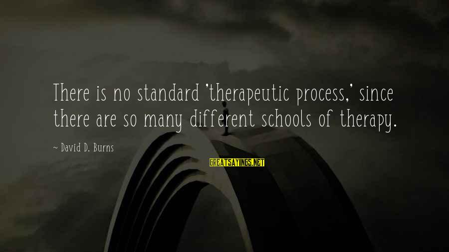 Therapeutic Sayings By David D. Burns: There is no standard 'therapeutic process,' since there are so many different schools of therapy.