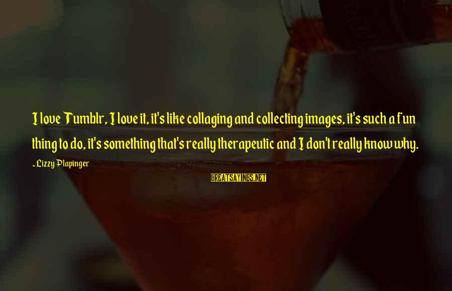 Therapeutic Sayings By Lizzy Plapinger: I love Tumblr, I love it, it's like collaging and collecting images, it's such a