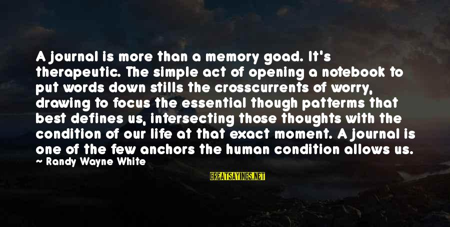 Therapeutic Sayings By Randy Wayne White: A journal is more than a memory goad. It's therapeutic. The simple act of opening