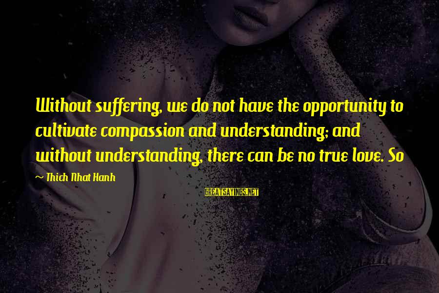 There No True Love Sayings By Thich Nhat Hanh: Without suffering, we do not have the opportunity to cultivate compassion and understanding; and without