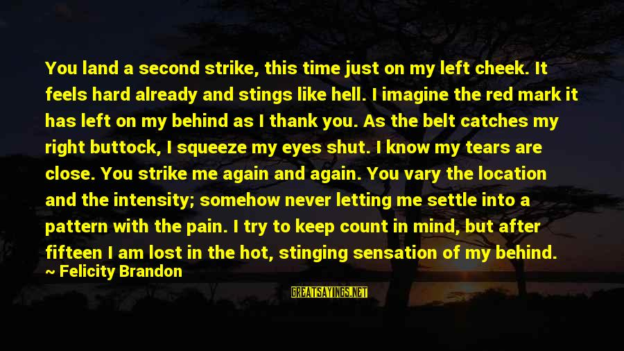 There Pain Behind Those Eyes Sayings By Felicity Brandon: You land a second strike, this time just on my left cheek. It feels hard
