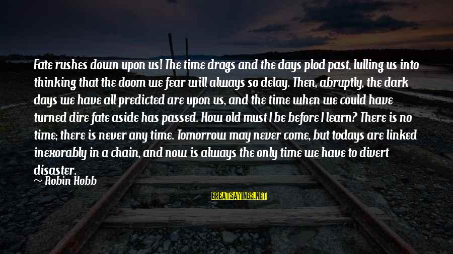 There Will Come A Time Sayings By Robin Hobb: Fate rushes down upon us! The time drags and the days plod past, lulling us