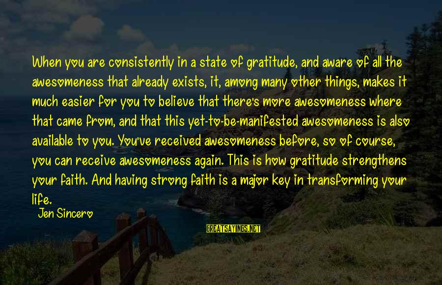 There's So Much More To Life Sayings By Jen Sincero: When you are consistently in a state of gratitude, and aware of all the awesomeness
