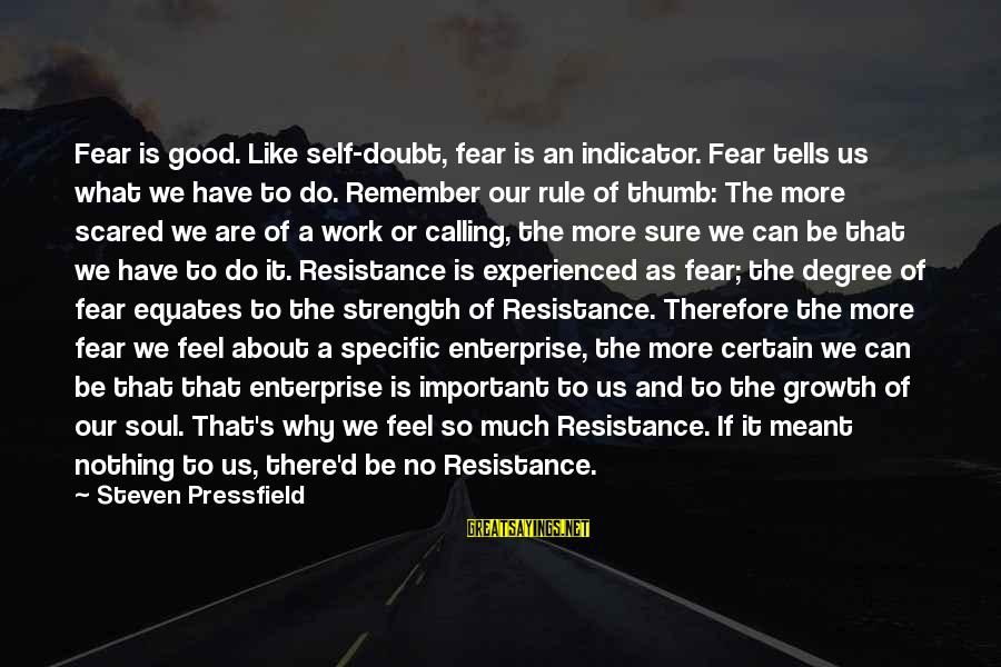 There's So Much More To Life Sayings By Steven Pressfield: Fear is good. Like self-doubt, fear is an indicator. Fear tells us what we have