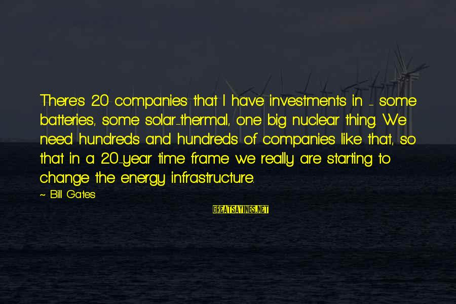 Thermal Energy Sayings By Bill Gates: There's 20 companies that I have investments in - some batteries, some solar-thermal, one big