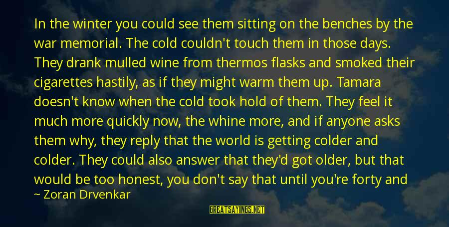 Thermos Sayings By Zoran Drvenkar: In the winter you could see them sitting on the benches by the war memorial.