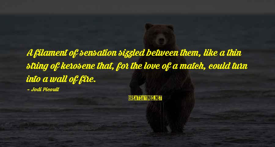 Thin Love Sayings By Jodi Picoult: A filament of sensation sizzled between them, like a thin string of kerosene that, for