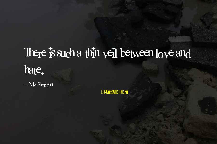 Thin Love Sayings By Mia Sheridan: There is such a thin veil between love and hate.