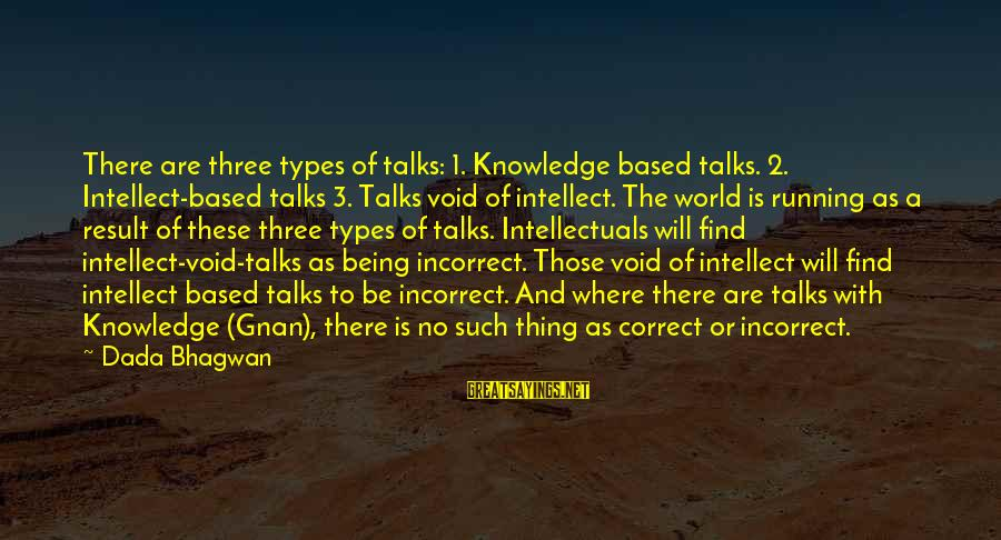 Thing 1 Thing 2 Sayings By Dada Bhagwan: There are three types of talks: 1. Knowledge based talks. 2. Intellect-based talks 3. Talks