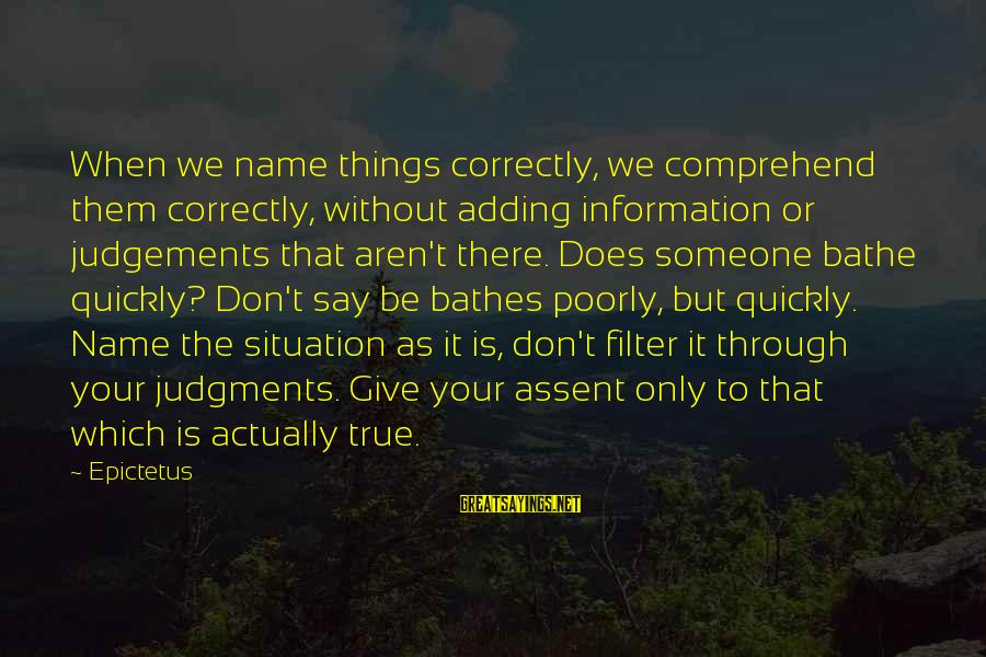Things Not Adding Up Sayings By Epictetus: When we name things correctly, we comprehend them correctly, without adding information or judgements that