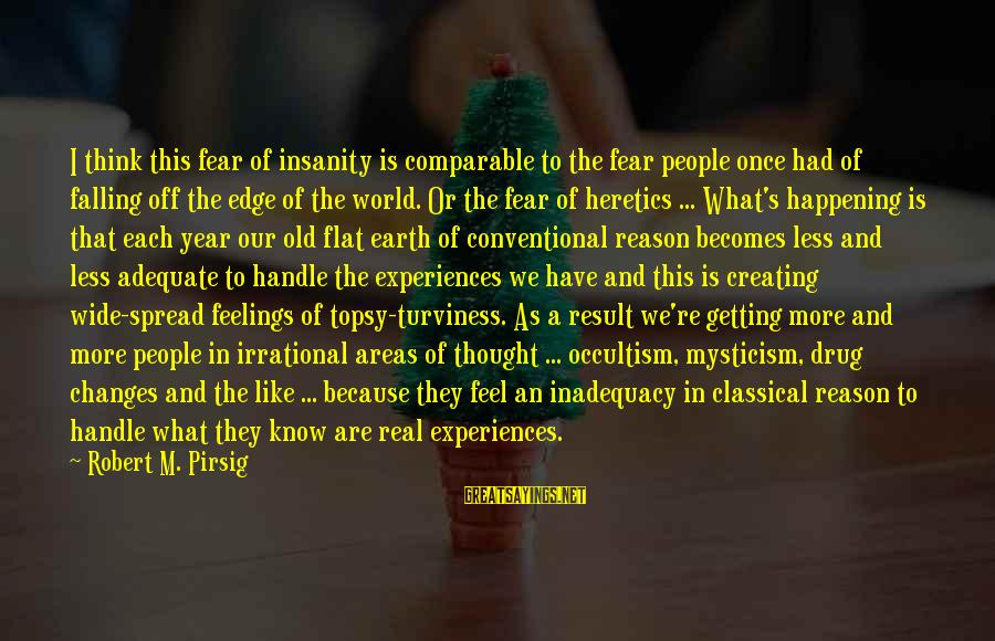 Think Less Feel More Sayings By Robert M. Pirsig: I think this fear of insanity is comparable to the fear people once had of