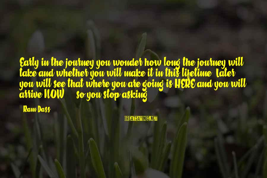 This Sayings By Ram Dass: Early in the journey you wonder how long the journey will take and whether you