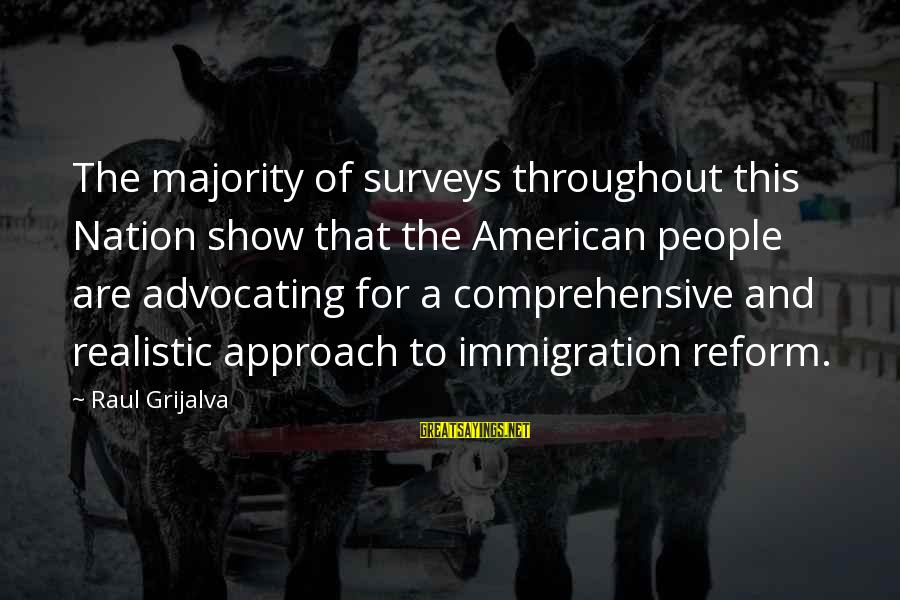 This Sayings By Raul Grijalva: The majority of surveys throughout this Nation show that the American people are advocating for