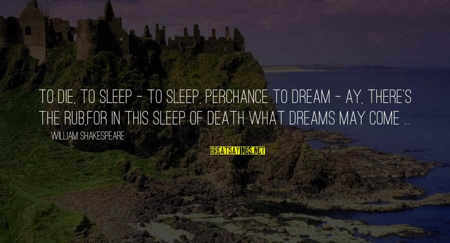 This Sayings By William Shakespeare: To die, to sleep - To sleep, perchance to dream - ay, there's the rub,For