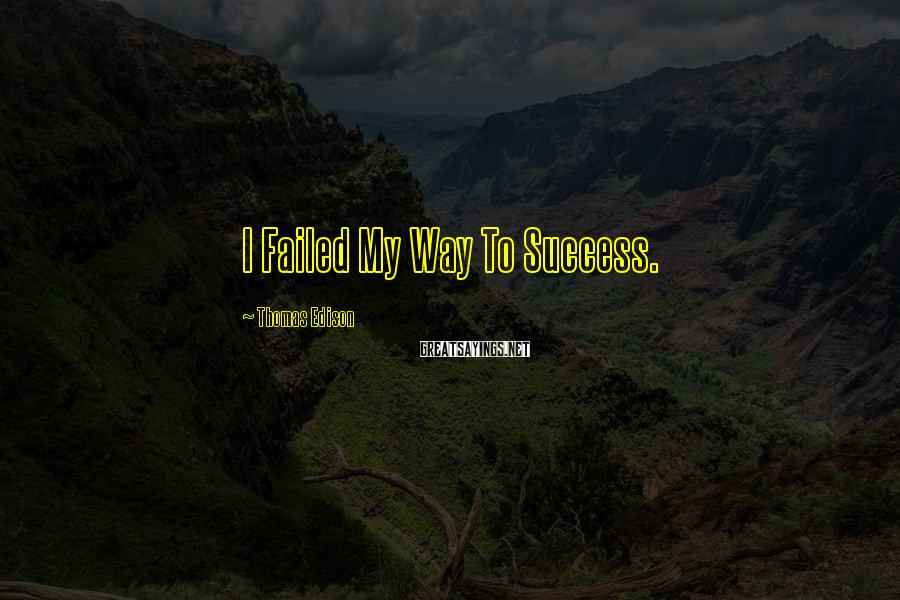 Thomas Edison Sayings: I Failed My Way To Success.