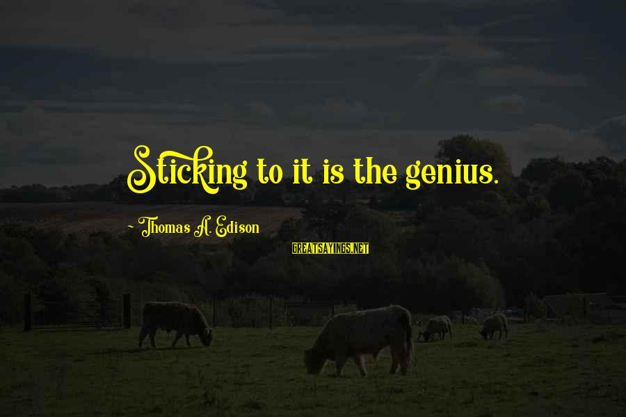 Thomas Edison Sayings By Thomas A. Edison: Sticking to it is the genius.