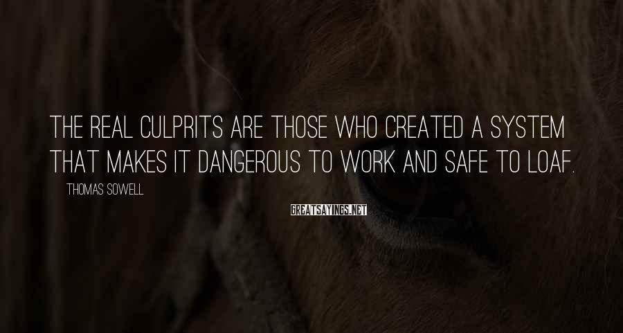 Thomas Sowell Sayings: The real culprits are those who created a system that makes it dangerous to work