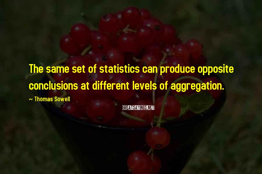 Thomas Sowell Sayings: The same set of statistics can produce opposite conclusions at different levels of aggregation.