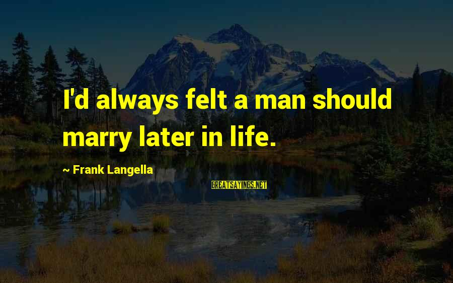 Thoreau Wildness Sayings By Frank Langella: I'd always felt a man should marry later in life.