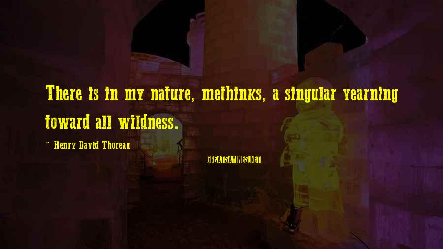 Thoreau Wildness Sayings By Henry David Thoreau: There is in my nature, methinks, a singular yearning toward all wildness.