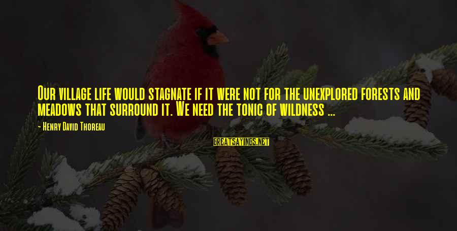 Thoreau Wildness Sayings By Henry David Thoreau: Our village life would stagnate if it were not for the unexplored forests and meadows
