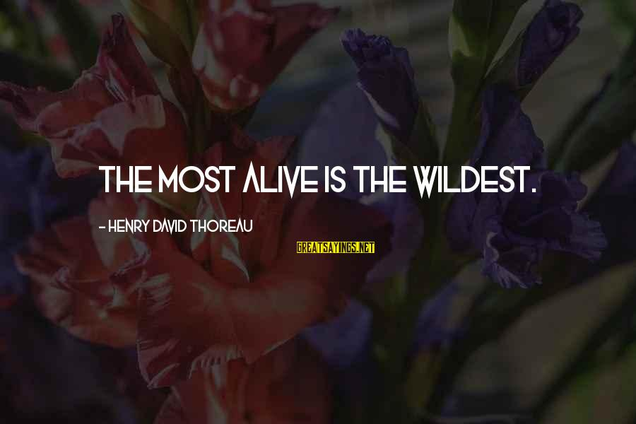 Thoreau Wildness Sayings By Henry David Thoreau: The most alive is the wildest.