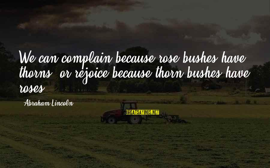 Thorn Sayings By Abraham Lincoln: We can complain because rose bushes have thorns, or rejoice because thorn bushes have roses.
