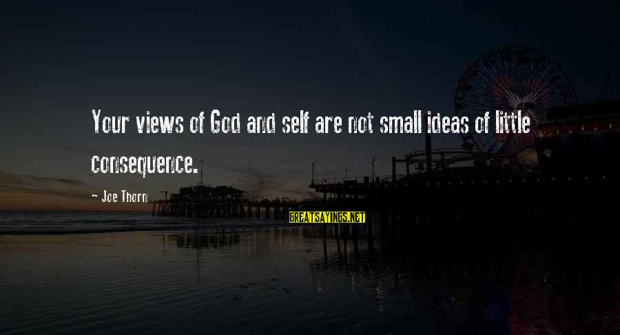 Thorn Sayings By Joe Thorn: Your views of God and self are not small ideas of little consequence.
