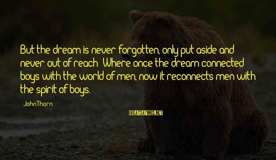 Thorn Sayings By John Thorn: But the dream is never forgotten, only put aside and never out of reach: Where