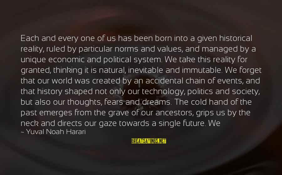Thoughts And Thinking Sayings By Yuval Noah Harari: Each and every one of us has been born into a given historical reality, ruled