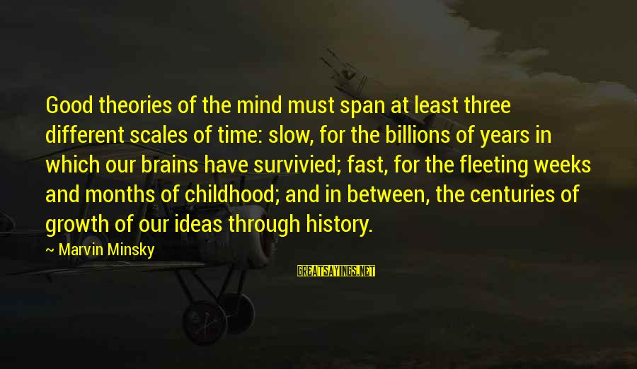 Three Years Sayings By Marvin Minsky: Good theories of the mind must span at least three different scales of time: slow,